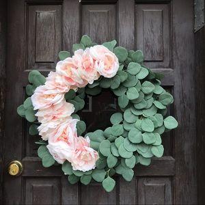 22 inch Grapevine Wreath Pink Peonies Eucalyptus